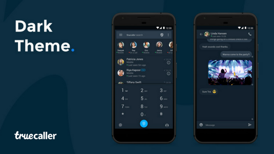 Dark Theme on Truecaller