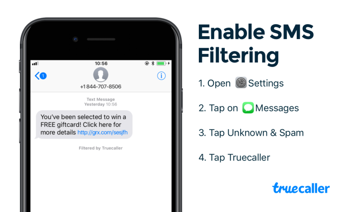 when the filtering feature is enabled with truecaller any sms or mms sent from new senders excluding contacts or imessages will be either deemed safe or